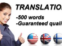 translate English to Finnish to English